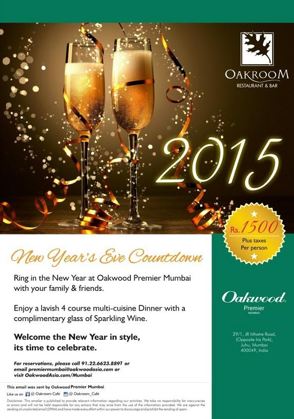 Oakroom Restaurant at Oakwood Premier Mumbai offers India